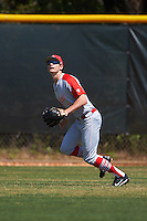 Ball State Cardinals outfielder Matt Eppers (35) during practice before a game against the Villanova Wildcats on March 3, 2017 at North Charlotte Regional Park in Port Charlotte, Florida.  Ball State defeated Villanova 3-1.  (Mike Janes/Four Seam Images)