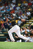 Pittsburgh Pirates infielder Deibinson Romero (57) during a Spring Training game against the Boston Red Sox on March 12, 2015 at McKechnie Field in Bradenton, Florida.  Boston defeated Pittsburgh 5-1.  (Mike Janes/Four Seam Images)