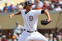 Detroit Tigers pitcher Ryan Perry #45 delivers a pitch during a Spring Training game vs the Philadelphia Phillies at Joker Marchant Stadium in Lakeland, Florida;  March 6, 2011.  Detroit defeated Philadelphia 2-1.  Photo By Mike Janes/Four Seam Images
