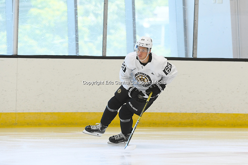 June 26, 2018: Boston Bruins forward Jack Studnicka (68)  skates during the Boston Bruins development camp held at Warrior Ice Arena in Brighton Mass. Eric Canha/CSM