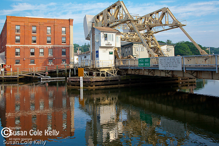 The drawbridge across the Mystic River in Mystic, CT, USA
