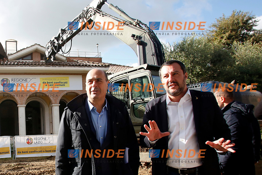 Nicola Zingaretti, President of Lazio Region and Matteo Salvini, minister of Internal Affairs<br /> Roma 26/11/2018. Demolizione di una villa del clan malavitoso della famiglia Casamonica alla Romanina, Roma est. I Casamonica sono associati al crimine nella periferia sud est di Roma.<br /> Rome November 26th 2018. Another Casamonica mobster clan villa being demolished.  The army started the demolition of an illegally built villa belonging to members of the Casamonica criminal clan.  The Casamonica family has been associated with crime in the south-eastern quarters of Rome for several decades.<br /> Foto Samantha Zucchi Insidefoto