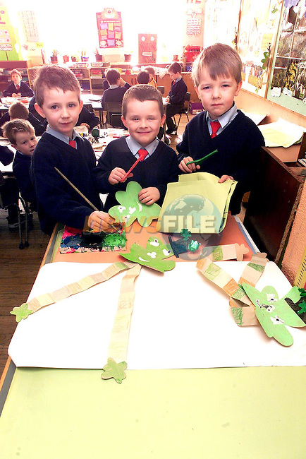 Stephen Smith, Glenmore Drive, Aaron Kirwin, Marian Park and Christopher Reid, Forest Grange pupils from St. Patrick's National School all set for St. Patrick's Day on Friday..Picture Paul Mohan Newsfile