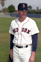 Boston Red Sox pitcher Rob Woodward during spring training circa 1990 at Chain of Lakes Park in Winter Haven, Florida.  (MJA/Four Seam Images)