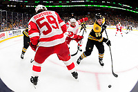 September 26, 2018: Boston Bruins center Noel Acciari (55) goes for the puck during the NHL pre-season game between the Detroit Red Wings and the Boston Bruins held at TD Garden, in Boston, Mass. Detroit defeats Boston 3-2 in overtime. Eric Canha/CSM