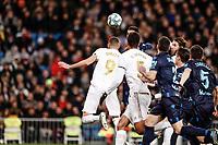 23rd November 2019; Estadio Santiago Bernabeu, Madrid, Spain; La Liga Football, Real Madrid versus Real Sociedad; Karim Benzema (Real Madrid) wins the header and scores to make it 1-1 - Editorial Use