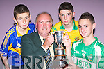 Chairman Dermot Griffin launching the O'Donoghue Cup East Kerry All Stars awards in the Gleneagle Hotel on Wednesday night with l-r: Cathal O'Donoghue Cordal, Damian O'Sullivan Gneeveguilla and Joe Clifford Listry ..