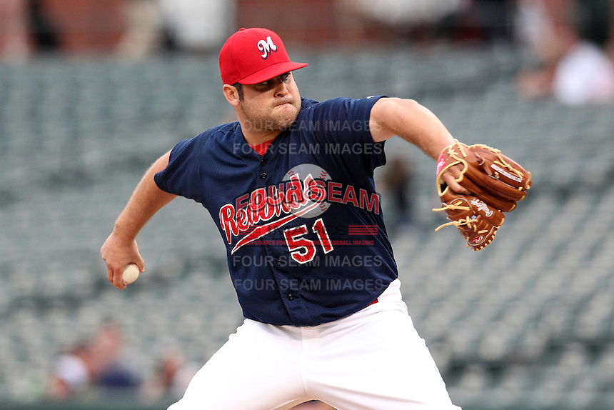 Memphis Redbirds pitcher Blake King #51 delivers a pitch during a game versus the Round Rock Express at Autozone Park on April 30, 2011 in Memphis, Tennessee.  Memphis defeated Round Rock by the score of 10-7.  Photo By Mike Janes/Four Seam Images