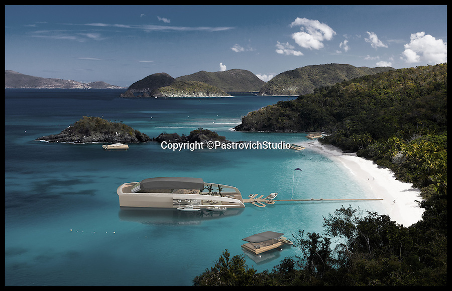 BNPS.co.uk (01202 558833)<br /> Pic: PastrovichStudio/BNPS<br /> <br /> ***Please Use Full Byline***<br /> <br /> The Mother ship, its detachable pods and the walk a-shore pontoon. <br /> <br /> The world's most luxurious superyacht which features its own detachable floating swimming pool and guest apartments has been unveiled - and it's guaranteed to make a splash among the world's super-wealthy.<br /> <br /> The mammoth 250ft vessel has been designed to act as a 'mother ship' for a series of luxury modules that can be turned into whatever its billionaire owner desires including a pool, a garden or accommodation.<br /> <br /> Once the boat is at anchor in its luxurious location the modules can be deployed and used as tiny floating boltholes.<br /> <br /> It also has its own inflatable walk-ashore pontoon so guests can walk straight from the boat onto the beach.<br /> <br /> And a cutting edge giro system would keep living quarters level at all time no matter how rough the seas are.<br /> <br /> Despite its enormous size, owners could sail the state-of-the-art carbon-fibre boat right in close to beaches because of its shallow hull design.<br /> <br /> The yacht, called the 77m X R-Evolution, is still a concept although its designers envisage it would costs hundreds of millions of pounds to buy. <br /> <br /> The plush creation is the brainchild of Monaco luxury yacht designers Pastrovich Studio.