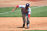 Hagerstown Suns third baseman Drew Ward (11) fields a ground ball during a game against the Lexington Legends on May 19, 2014 at Whitaker Bank Ballpark in Lexington, Kentucky.  Lexington defeated Hagerstown 10-8.  (Mike Janes/Four Seam Images)