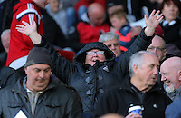 Pictured: Supporters Monday 25 April 2016<br /> Re: Play Off semi final, Swansea City AFC U21 v Aston Villa FC U21 at the Liberty Stadium, Swansea, UK