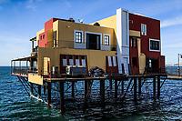House and restaurant on the sea water in the tourist destination Puerto Penasco, Sonora, Mexico.<br /> Casa y restaurante sobre el agua del mar en el destino turistico Puerto Peñasco, Sonora, Mexico. . (Photo: Luis Gutierrez /NortePhoto.com)