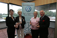 Irish Independent Lady Captains Golf Classic in Headford G.C..Louise Collins Presents Headford Jo Noonan and Dolores Butler with there forth Prise also pictured Cecil wheelan..Photo: Fran Caffrey/ Newsfile.