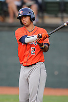 Third baseman Luis Reynoso (2) of the Greeneville Astros in a game against the Bristol Pirates on Saturday, July 26, 2014, at DeVault Memorial Stadium in Bristol, Virginia. Greeneville won, 2-1 in Game 1 of a doubleheader. (Tom Priddy/Four Seam Images)