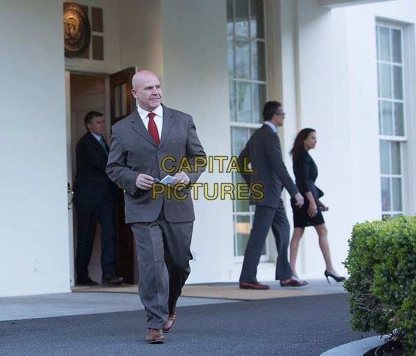 United States National Security Advisor, US Army Lieutenant General H. R. McMaster, walks to the microphones to make a statement at the White House in Washington, DC refuting a Washington Post article alleging that US President Donald J. Trump shared secret information with the Russian Foreign Minister and Ambassador during their recent meeting, May 15, 2017. <br /> CAP/MPI/CNP/RS<br /> &copy;RS/CNP/MPI/Capital Pictures