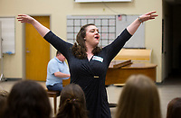 NWA Democrat-Gazette/JASON IVESTER<br /> Amanda O'Toole performs Thursday, May 18, 2017, with others from Opera in the Ozarks for students at Bentonville High School. Public performances for the season run June 23 through July 21.