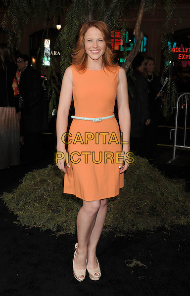 "Katie Leclerc.arriving at the Los Angeles premiere of ""Beautiful Creatures"" at TCL Chinese Theatre in Hollywood, California, USA, .February 6th, 2013..full length orange sleeveless dress belt beige peep toe nude shoes .CAP/ROT/TM.©Tony Michaels/Roth Stock/Capital Pictures"