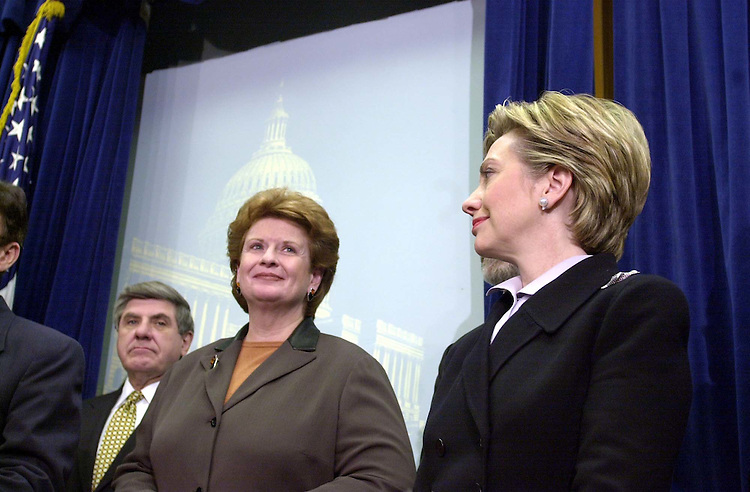 18freshmen120600 -- Debbie Stabenow, D-Mich., and Hillary Rodham Clinton, D-N.Y., during a press conference to introduce the democratic freshmen senators.