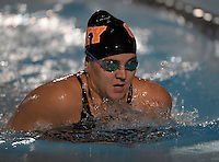 Feb 22, 2015; Whittier, CA, USA; Rachel Wilson of Occidental College competes in the womens 200-yard breastroke at the SCIAC swimming championships at Whittier College. Photo by Kirby Lee