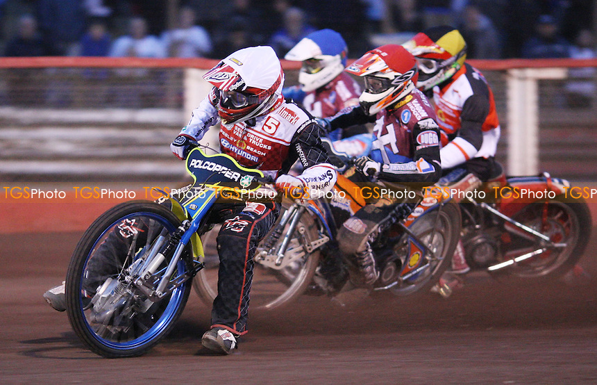 Heat 6: Troy Batchelor (white), Peter Karlsson (red), Stuart Robson (blue) and Anders Mellgren (yellow) - Lakeside Hammers vs Swindon Robins, Elite League Speedway at the Arena Essex Raceway, Pufleet - 18/05/12 - MANDATORY CREDIT: Rob Newell/TGSPHOTO - Self billing applies where appropriate - 0845 094 6026 - contact@tgsphoto.co.uk - NO UNPAID USE..