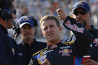 Mar 30, 2007; Martinsville, VA, USA; Nascar Nextel Cup Series driver A.J. Allmendinger gestures to his crew how his car handled during qualifying for the Goody's Cool Orange 500 at Martinsville Speedway. Martinsville marks the second race for the new car of tomorrow. Mandatory Credit: Mark J. Rebilas.