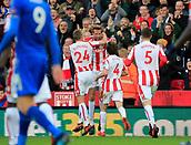 4th November 2017, bet365 Stadium, Stoke-on-Trent, England; EPL Premier League football, Stoke City versus Leicester City; Peter Crouch of Stoke City celebrates scoring the equaliser for Stoke City to make the score 2-2