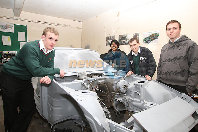Drogheda Grammar School Students, Michael Hennessy, Krithka Anil, Sebastien Durbano and Mark Bellew with their Car Restoration Project.. ..(Photo credit should read Jenny Matthews/www.newsfile.ie)....This Picture has been sent you under the conditions enclosed by:.Newsfile Ltd..The Studio,.Millmount Abbey,.Drogheda,.Co Meath..Ireland..Tel: +353(0)41-9871240.Fax: +353(0)41-9871260.GSM: +353(0)86-2500958.email: pictures@newsfile.ie.www.newsfile.ie.