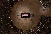 Vice President Mike Pence and wife Karen help lay a wreath as Former President George H. W. Bush lies in state in the U.S. Capitol Rotunda Monday, Dec. 3, 2018, in Washington. (Pool photo by Morry Gash via AP)