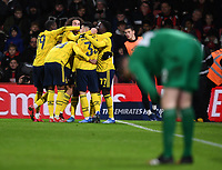 27th January 2020; Vitality Stadium, Bournemouth, Dorset, England; English FA Cup Football, Bournemouth Athletic versus Arsenal; Edward Nketiah of Arsenal celebrates with his team after scoring in 25th minute 0-2