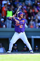 Clemson Tigers first baseman Chris Williams (27) awaits a pitch during a game against the South Carolina Gamecocks at Fluor Field on March 3, 2018 in Greenville, South Carolina. The Tigers defeated the Gamecocks 5-1. (Tony Farlow/Four Seam Images)