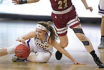 SIOUX FALLS, SD: MARCH 4: Taylor Higginbotham #24 of Western Illinois keeps her dribble as a Denver defender runs by on March 4, 2017 during the Summit League Basketball Championship at the Denny Sanford Premier Center in Sioux Falls, SD. (Photo by Dick Carlson/Inertia)