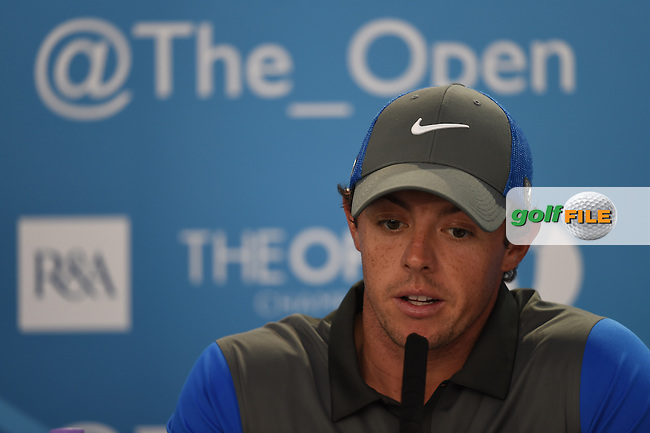 Rory MCILROY (NIR) speaks to the media during round one of The 143rd Open championship Royal Liverpool Golf club, Hoylake, England.: Picture  Fran Caffrey, www.golffile.ie: 17th July 2014