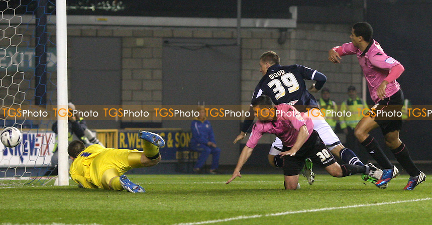 Chris Wood scores the 1st goal for Millwall - Millwall vs Birmingham City, nPower Championship at the New Den, Millwall - 23/10/12 - MANDATORY CREDIT: Rob Newell/TGSPHOTO - Self billing applies where appropriate - 0845 094 6026 - contact@tgsphoto.co.uk - NO UNPAID USE.
