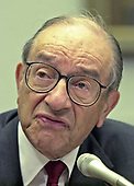 Federal Reserve Chairman Alan Greenspan testifies before the United States House Committee on Financial Services concerning the state of the US economy on Capitol Hill in Washington, DC on July 18, 2001.  In his remarks, Chairman Greenspan warned that the year long economic slowdown has not ended and did not rule out another interest rate cut.<br /> Credit: Ron Sachs / CNP