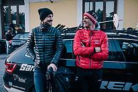 Tom Boonen &amp; Jasper Stuyven (BEL/Trek-Segafredo) sharing some thoughts after the race<br /> <br /> 109th Milano-Sanremo 2018<br /> Milano &gt; Sanremo (291km)