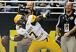 West's Ronald Powell throws the ball into the stands to celebrate a touchdown during the U.S. Army All-American Bowl, Saturday, Jan. 9, 2010, at the Alamodome in San Antonio. (Darren Abate/pressphotointl.com)