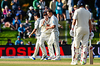 Tom Latham celebrates Trent Boult of the Black Caps wicket of James Vince of England during Day 3 of the Second International Cricket Test match, New Zealand V England, Hagley Oval, Christchurch, New Zealand, 1st April 2018.Copyright photo: John Davidson / www.photosport.nz