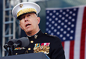New York, NY - November 11, 2008 -- General James T. Conway speaks before United States President George W. Bush takes the podium on Veteran's Day at the rededication ceremony of the Intrepid Sea, Air and Space Museum in New York City on Tuesday, November 11, 2008. <br /> Credit: John Angelillo - Pool via CNP
