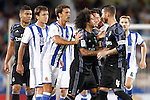 Real Sociedad's players have words with Real Madrid's Sergio Ramos during La Liga match. August 21,2016. (ALTERPHOTOS/Acero)