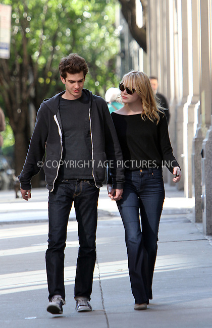 WWW.ACEPIXS.COM . . . . .  ....April 29 2012, New York City....Super-cool A-List couple Andrew Garfield and Emma Stone take a stroll around Chelsea and do some shopping at Whole Foods before jumping in a cab on April 29 2012 in New York City....Please byline: Zelig Shaul - ACE PICTURES.... *** ***..Ace Pictures, Inc:  ..Philip Vaughan (212) 243-8787 or (646) 769 0430..e-mail: info@acepixs.com..web: http://www.acepixs.com