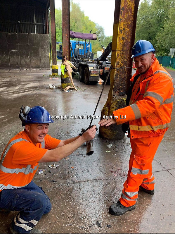 """Pictured: Council workers Rhys and Darren who found the ring<br /> Re: A woman who accidentally threw away her engagement ring has thanked recycling centre staff for finding it among piles of rubbish in Monmouthshire, Wales, UK.<br /> Two workers at Five Lanes recycling centre in Caldicot, """"trawled through hundreds of bags"""" to find it.<br /> Jo Carter realised on Saturday she had lost it and it had been taken to the tip along with 15 other black bags.<br /> Two Monmouthshire council workers spent four hours trying to find it.<br /> Mr and Mrs Carter got engaged 15 years ago, but she did not put on the £3000 ring very often."""