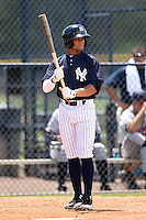 GCL Yankees 2 outfielder Jordan Barnes (20) at bat during a game against the GCL Braves on June 23, 2014 at the Yankees Minor League Complex in Tampa, Florida.  GCL Yankees 2 defeated the GCL Braves 12-4.  (Mike Janes/Four Seam Images)