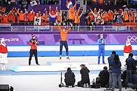 OLYMPIC GAMES: PYEONGCHANG: 11-02-2018, Gangneung Oval, Long Track, 5000m Men, Final result, Ted-Jan Bloemen (CAN), Sven Kramer (NED), Sverre Lunde Pedersen (NOR), ©photo Martin de Jong