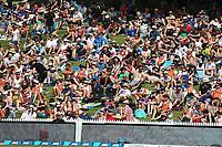 Fans on the main embankment. New Zealand Blackcaps v England. One Day International Cricket. Seddon Park, Hamilton, New Zealand on Sunday 25 February 2018.<br /> <br /> Copyright photo: &copy; Bruce Lim / www.photosport.nz