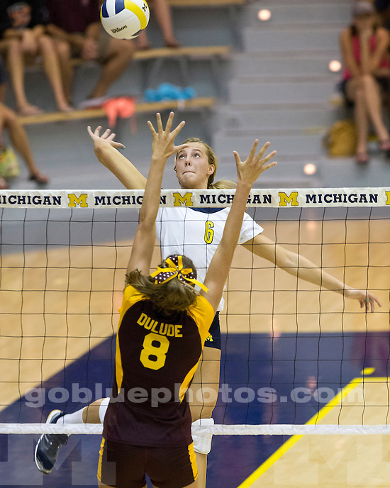 The University of Michigan women's volleyball team beat Central Michigan, 3-0, at Cliff Keen Arena in Ann Arbor, Mich., on August 31, 2012.