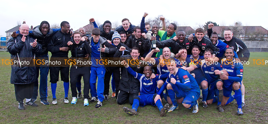 The Grays Athletic team enjoy their victory and champions of Ryman Division One North - Grays Athletic vs Maldon & Tiptree - Ryman League Division One North Football - 13/04/13 - MANDATORY CREDIT: Ray Lawrence/TGSPHOTO - Self billing applies where appropriate - 0845 094 6026 - contact@tgsphoto.co.uk - NO UNPAID USE.