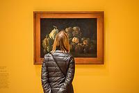 """Ausstellung """"Van Gogh. Stillleben"""" im Potdamer Museum Barberini.<br /> Die Ausstellung versammelt in einer repraesentativen Auswahl 27 Gemaelde. Von den in dunklen Erdtoenen gehaltenen Studien des Fruehwerks der Jahre 1881–1885 bis zu den in leuchtenden Farben gemalten Obst- und Blumenstillleben, die in den letzten Lebensjahren entstanden.<br /> Im Bild: Das Gemaelde """"Stillleben mit Aepeln und Kuebissen"""".<br /> 24.10.2019, Potsdam<br /> Copyright: Christian-Ditsch.de<br /> [Inhaltsveraendernde Manipulation des Fotos nur nach ausdruecklicher Genehmigung des Fotografen. Vereinbarungen ueber Abtretung von Persoenlichkeitsrechten/Model Release der abgebildeten Person/Personen liegen nicht vor. NO MODEL RELEASE! Nur fuer Redaktionelle Zwecke. Don't publish without copyright Christian-Ditsch.de, Veroeffentlichung nur mit Fotografennennung, sowie gegen Honorar, MwSt. und Beleg. Konto: I N G - D i B a, IBAN DE58500105175400192269, BIC INGDDEFFXXX, Kontakt: post@christian-ditsch.de<br /> Bei der Bearbeitung der Dateiinformationen darf die Urheberkennzeichnung in den EXIF- und  IPTC-Daten nicht entfernt werden, diese sind in digitalen Medien nach §95c UrhG rechtlich geschuetzt. Der Urhebervermerk wird gemaess §13 UrhG verlangt.]"""