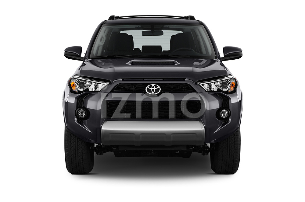 Car photography straight front view of a 2017 Toyota 4Runner Off-Road 5 Door SUV