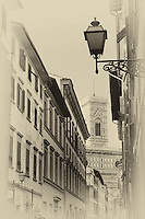 An aged / antique street view in Florence Italy.