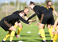 20190226 - LARNACA , CYPRUS :  Belgian Jody Vangheluwe pictured in a duel with Davinia Vanmechelen (r) during a Matchday -1 training from The Belgian Red Flames prior to their game against the women team of Slovakia , on Tuesday 26 February 2019 at the Alpha Sports Grounds in Larnaca , Cyprus . This will be the first game in group C for Belgium during the Cyprus Womens Cup 2019 , a prestigious women soccer tournament as a preparation on the European Championship 2021 qualification duels. PHOTO SPORTPIX.BE | DAVID CATRY
